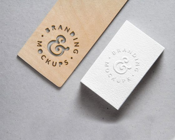 free cutout wood and embossed business card logo mockup